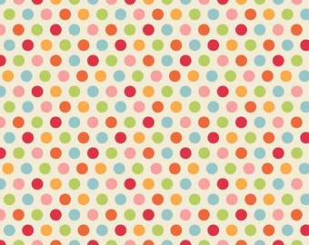 FLANNEL Just Dreamy 2 Cream with Pink Orange Red Green Blue Dots 100% Cotton by Riley Blake  Sold by 4th Half 3/4  or  Yard Sewing /Quilting