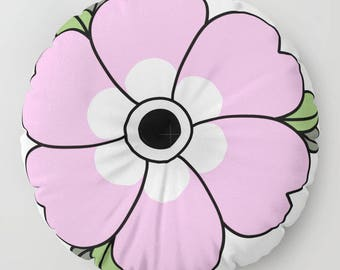 Large Flower Floor Pillows - Pink Flower - Round or Square Floor Cushion - Decorative Pillow - Made to Order