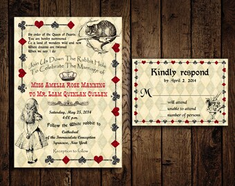 Printable Alice in Wonderland Wedding Invitation and Response Card - DIY - Mad Hatter Wedding Invitations