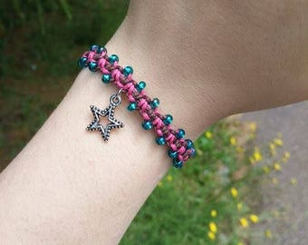 Pink And Brown Macrame Bracelet With Star Charm, Handmade