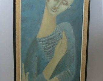 Oil painting Mid Century Modern Pensive MAN blue period