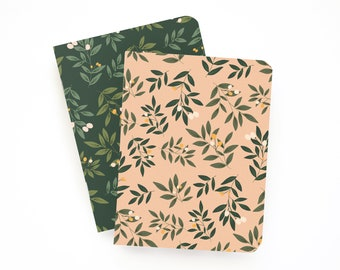 Pocket Journal Set of 2 | Illustrated Small Notebooks with Lined Pages: Orchard Pocket Journal Set