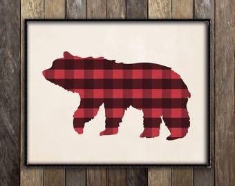 Plaid Bear Print, Rustic Wall Art, Wilderness Lodge Decor, Hunting Lodge Sign, Rustic Nursery Decor, Baby Bear Wall Art, Cabin Signs