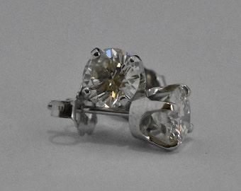 14K White Gold Earrings | Diamond Stud Earrings | Simple | Handmade Fine Jewelry