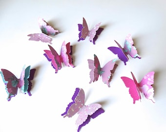 3D Paper Butterflies, bridal shower decor, girls room wall decor, butterfly birthday party, 1st year birthday party, garden party