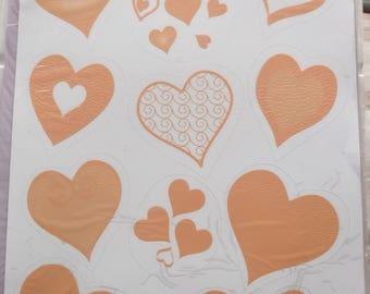decoration - 60 vitrostatiques hearts - wedding color ORANGE