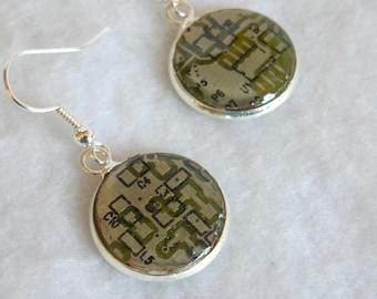Steampunk Recycled Circuit Board Earrings  SE169