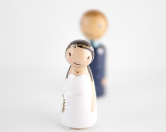 Peg People Cake Topper - gift for her - custom wooden pegs - peg dolls - bride and groom cake topper - custom topper - anniversary gift idea