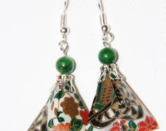origami Japanese paper pyramid earrings