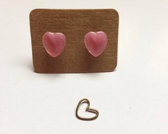 Vintage Glass Heart Earrings