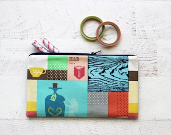 CLEARANCE - Alice in Wonderland bag - pencil bag - pen pouch - planner accessory - gift for writer - zipper pouch