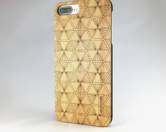 Spokane -- Geometric Laser Etched Wood Case (iPhone 6, 6s, 7, 7plus)