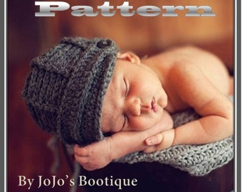 PDF Newsboy Hat PATTERN - Baby Newsboy Hat - Crochet Pattern - Newborn to 0 - 3 month Sizes -Crochet Newsboy Hat -  by JoJosBootique