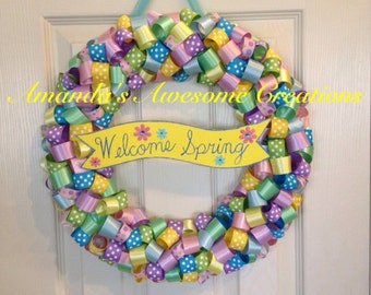 Welcome Spring Ribbon Wreath