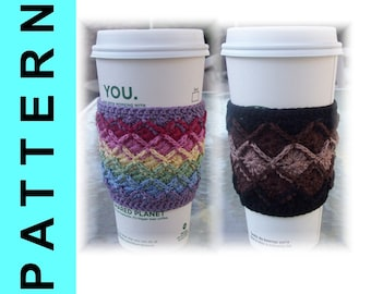 Bavarian Crochet Pattern - Crochet Thread Coffee Sleeve 2 versions