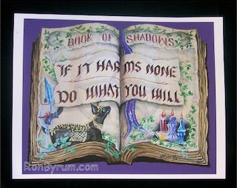 "Folk Art Witches ""Book of Shadows"" PRINT Witches Creed"