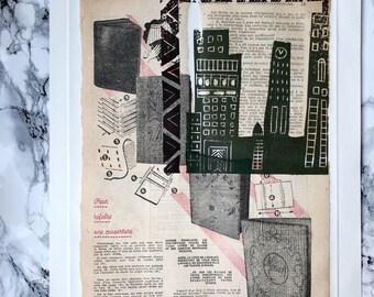 Métropole 1 - Chine-collé and linocut print