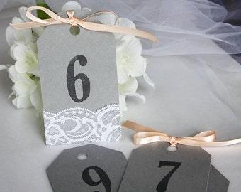 Grey & Peach Wedding Table Number Tags, Grey Wedding Table Numbers, Grey Peach Wedding, Grey Peach Invitations, Lace Wedding Invitations