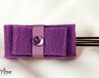 Simple & Elegant Purple Felt Ribbon Bows Hair Pin