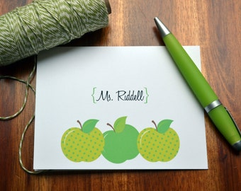Teacher's Personalized Stationery / Personalized Stationary / Personalized Note Cards / Stationery Set - Apple for teacher Design