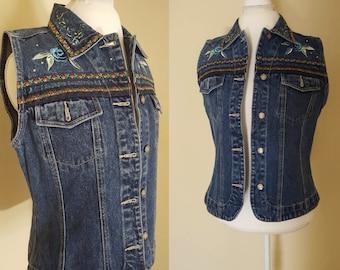 Bill Blass Denim Vest / Vintage Embroidered Sleeveless Denim Vest