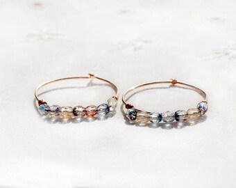 Perles Boucles d'oreilles en or Rose en laiton boucles d'oreilles avec verre coloré à facettes perles bijoux faits main cadeau pour sa livraison gratuite d'Israël