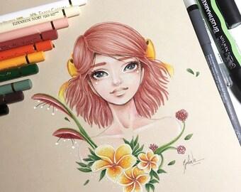 Art - Flora - A5 - colored pencil - illustration print