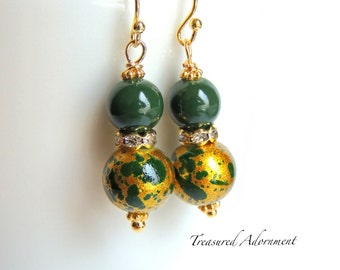 Gold and Forest Green Earrings. Bridesmaids Earrings, Bridal Party Jewelry, Wedding, Mother's day gift, Thank you gift, Valentine's Day gift