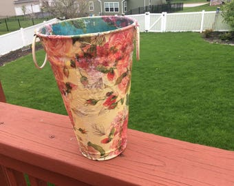 Decoupaged metal flower bucket