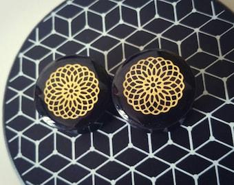 Pair of plugs 24mm mandala gold