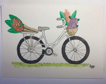 Original Watercolor of a Bike