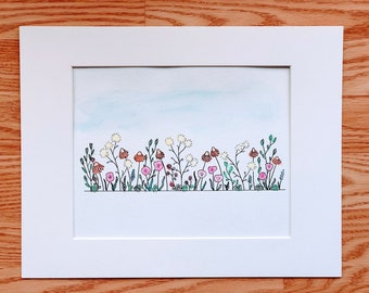 Wildflowers Floral watercolors Black and white original doodle Fine art print abstract Spencer Doodles