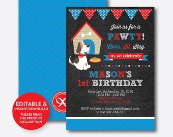 Instant Download, Editable Dog Birthday Invitation, Puppy Birthday Invitation, Dog Invitation, Puppy Invitation, Boy, Chalkboard (CKB.25)