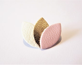 Petal Pink and white leather, gold rose brooch