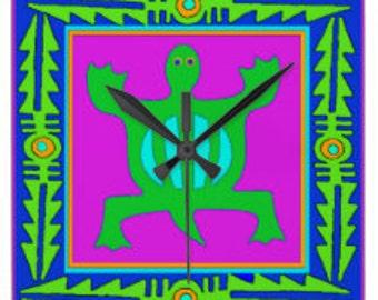 "African Adinkra Denkyem Symbol for ""Adaptability"" Acrylic Wall Clock - Housewarming Gift - Adinkra Wall Clock - Tribal African Decor Clock"