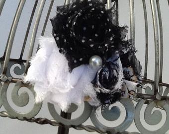 Black and white hair clip, black flower hair clip, black and white shabby chic hair accessory, girls hair clips, hair clip hair accessories