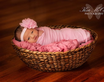 Pink baby headband, QUICK SHIP, newborn headband, infant headband, baby hairband, pink baby hairband, chiffon headband, photo prop,