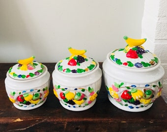 Vintage Kitchen Canisters Ceramic Canisters Kitchen Canister Set