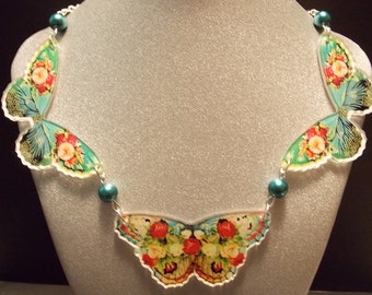 Blue Vintage Inspired Butterfly Statement Necklace