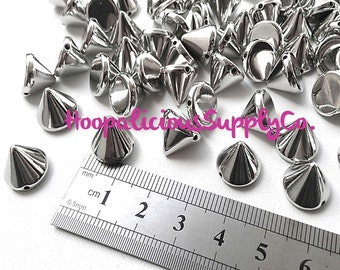 100pc Acrylic Studs. Sew or Glue. 10mm Cone Studs. Choose Silver, Gold, Brass, or Gun Metal. FAST Shipping w/ Tracking 4 Domestic Orders.