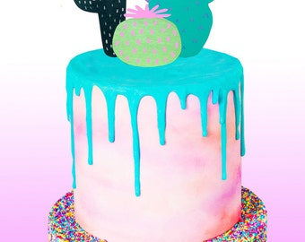 Hand-painted Reusable Cacti Cake Toppers: cactus party decoration