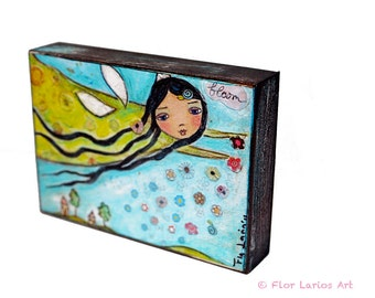 Spring Fairy - ACEO Giclee print mounted on Wood (2.5 x 3.5 inches) Folk Art  by FLOR LARIOS