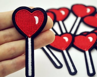 Candy Lollipop Heart Patch  lollipop Iron on patches heart candy embroidered patch candy applique badge patch fashion patches iron on p