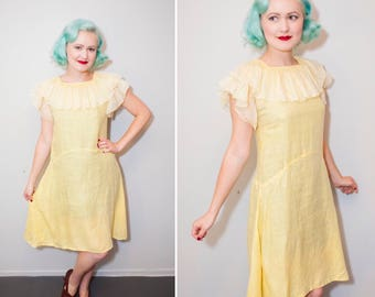 1920's Light Yellow Cotton Drop Waist Day Dress With Ruffle Collar & Sleeves   Size XS
