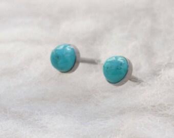 Turquoise Gemstone 4mm Bezel Set on Niobium or Titanium Posts (Hypoallergenic Stud Earrings for Sensitive Ears)