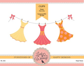 Dress Clothesline Clipart Set · Digital Scrapbook · Clip Art · Prom Dress · Personal & Commercial Use · Instant Download