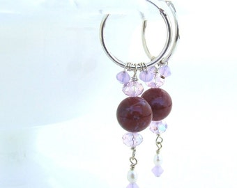 Red Jasper Hoop Earrings with Swarovski Crystal Sterling Silver