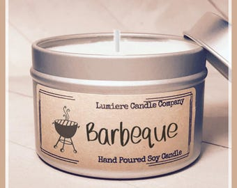 Barbeque (BBQ) scented Soy Candle Tin, Scented Soy Candles, Hand Poured Soy Candles, Soy Candles Handmade, Travel Tin