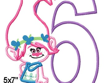 Girl Gnome P0PPY Birthday 6 Machine Embroidery Applique Pattern Design 5x7 6x10 7x11 INSTANT DOWNLOAD