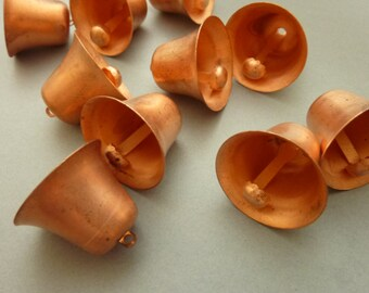 6 Large Copper Bells - Vintage Mechanical Charms